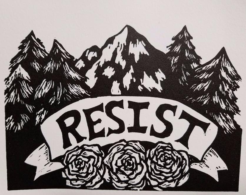 Resist, linocut, 2017