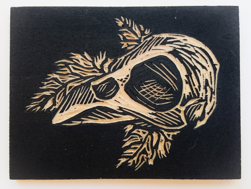Example of a carved woodblock with sumi layer.